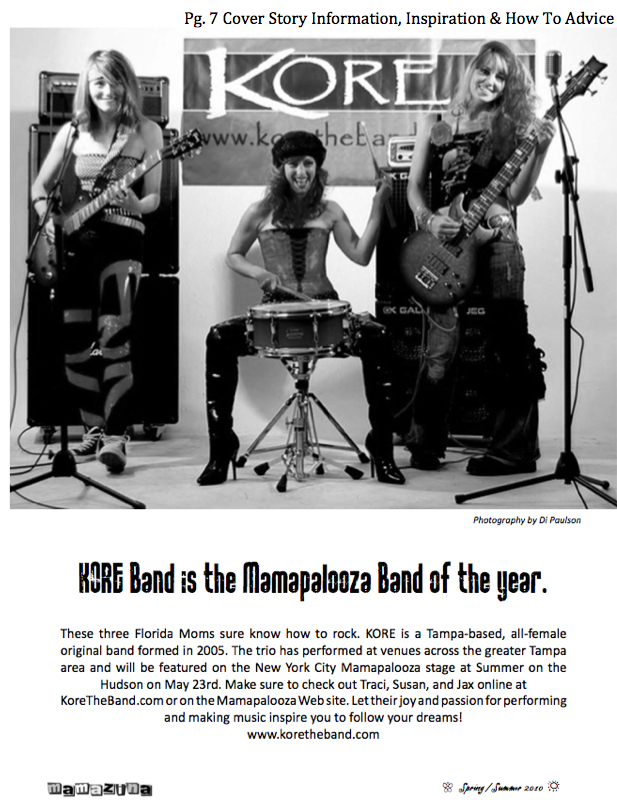 Mamazina Magazine features Mamapalooza Band of the Year