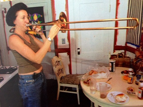 Kyleann Burtt plays trombone with Housewives On Prozac Band