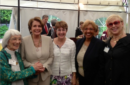 Dr. Bernice Resnick Sandler, House Democratic Leader Nancy Pelosi, Jeanne Giovannini, Beverly Ryder